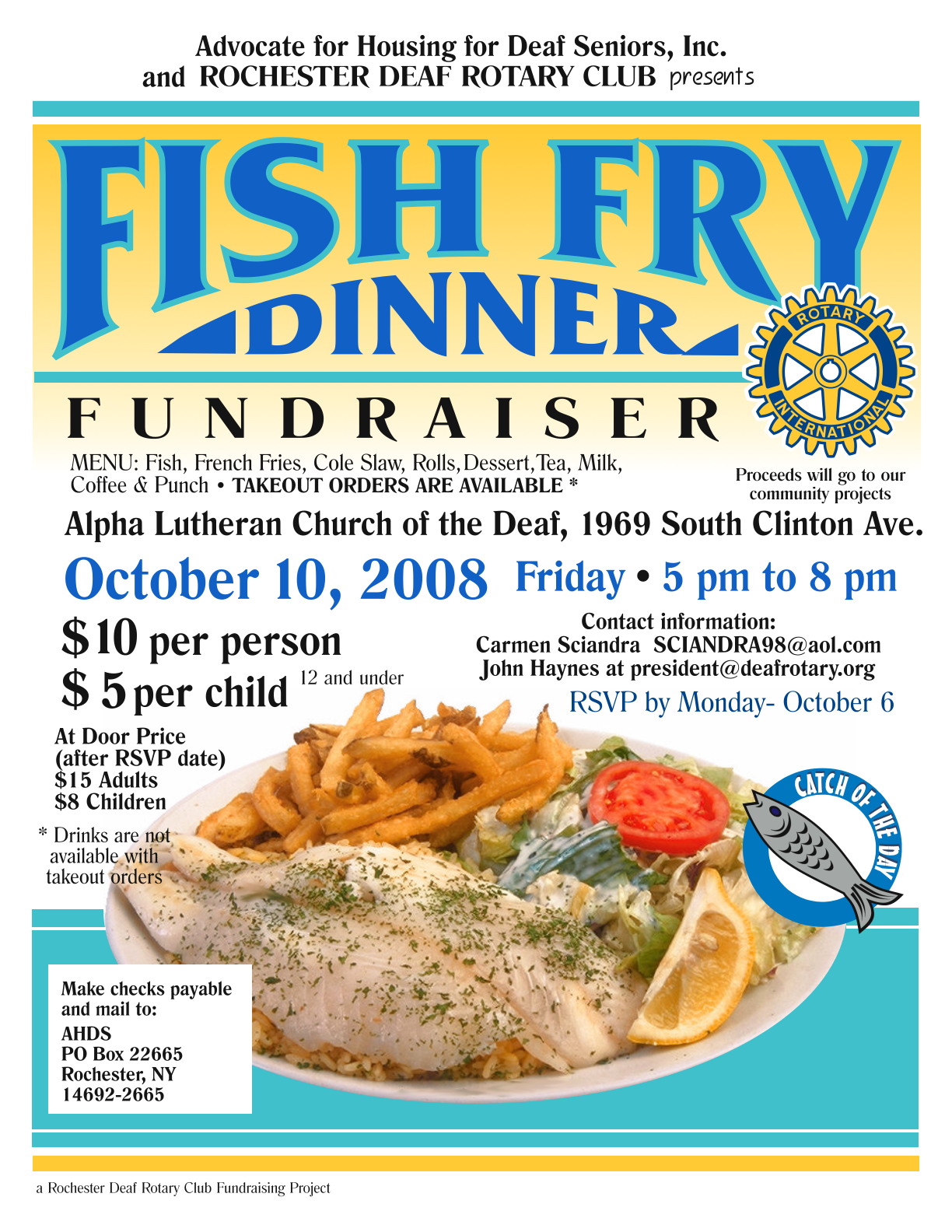 fish fry dinner event  october 10  2008